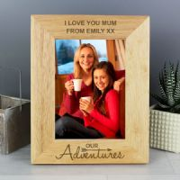 Personalised Our Adventures 5x7 Wooden Photo Frame - Engagement, Anniversary, Wedding Gift